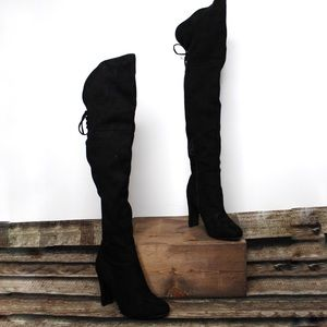 New Black Thigh High Faux Suede Heeled Boots